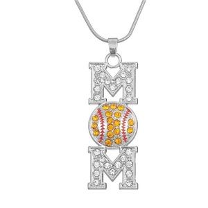🥎❤️Softball Mom Silver Crystal Pendant Necklace